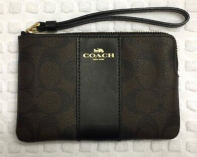 Nwt Authentic Coach Wristlet Black & Brown Signature Coated Canvas & Leather