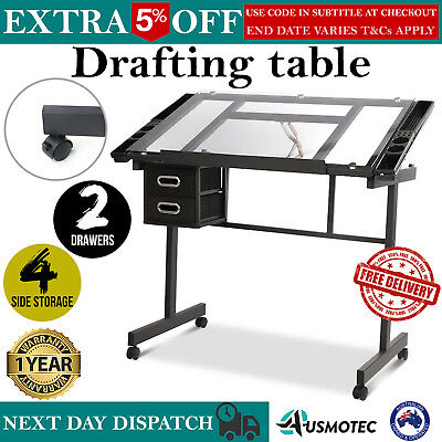 Drafting Table Drawing Art Craft Tilting Adjustable Study Desk Glass Storage