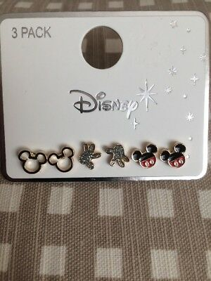 Disney New Primark 3 Pack Pairs Mickey Mouse  Earrings - Hands- Face- Ears