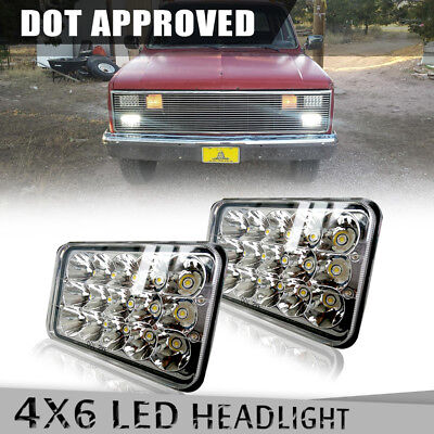 """2Pcs DOT Approved LED Headlights 4''x6"""" For Chevrolet Kenworth H4651 H4652 H4666"""