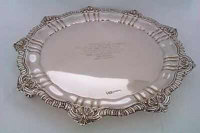 Rare & Heavy Solid Silver Rococo Style Edwardian Footed Tray  1910    847 Grams