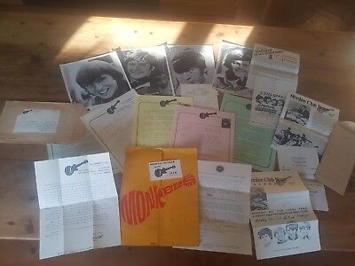 Monkees Fan Club Memorabilia 1967-68 Folder and Letters Club membership cards uk