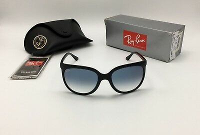 Ray-Ban Cats 1000 Women's Black Sunglasses RB4126 601/3F Blue Gradient 57mm