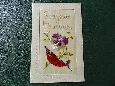 Ww1 Embroidered Postcard - Souvenir Of Chocques