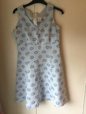1960s white and blue dress size small