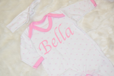 Personalised Name Heart Babygrow and Headband Set One piece Baby Girl Gifts