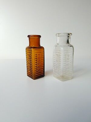 Lot Of 2 1890s Hard To Find Colored Poison Bottles