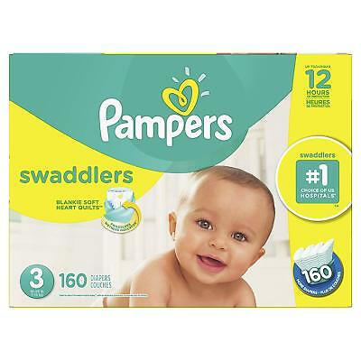 Swaddlers Disposable Size 3 Baby Diapers  Economy Pack Plus, 160 Count New