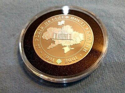 10 Years of Independence - Ukrainian Silver Proof coin (KM 144)   EXTREMELY RARE