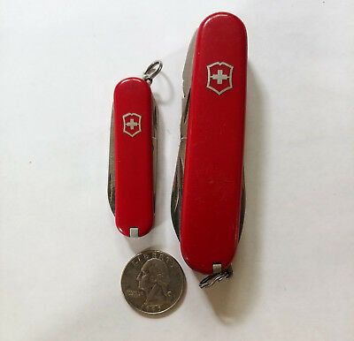 Lot Of 2 Victorinox Swiss Army Knives Large And Small Multiple Accesories Nice!