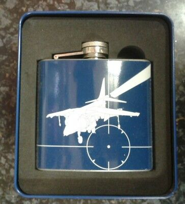 Harrier Royal Air Force 50Z Stainless Steel Hip Flask Brand New In Metal Tin