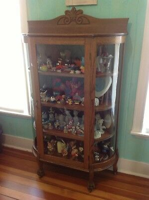 Antique Claw Foot Curio/ China Cabinet , Curved Glass ,  Oak