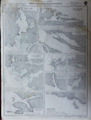 Large Admiralty sea chart Ports & Anchors in Yugoslavia