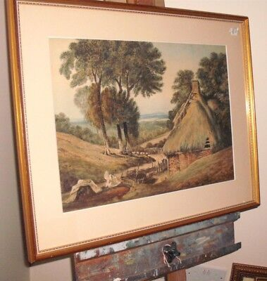 Antique Victorian Watercolour 19thC English Countryside Painting Framed Unsigned