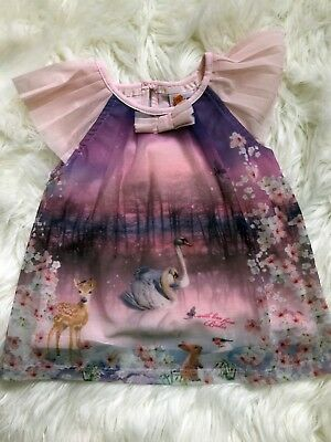 Ted Baker Baby Girls Top 12-18 months Swans Deer Woodland Excellent condition