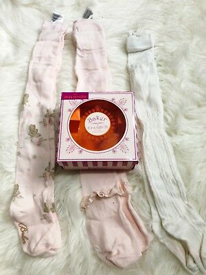 Ted Baker Baby Girl Tights X 3 In A Box 18-24 Months Pink Cream Frill