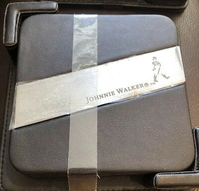 Johnnie Walker Coasters Whiskey Pewter Metal Logo Set of 4 Holder Faux Leather