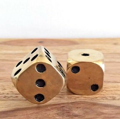 "Vintage Solid Brass Dice Pair 1"" X 1"" Heavy Paper Weights"