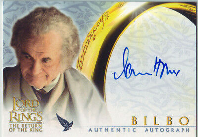 2003 AUTHENTIC AUTOGRAPH - LORD RING LOTR IAN HOLM as BILBO - RETURN OF THE KING