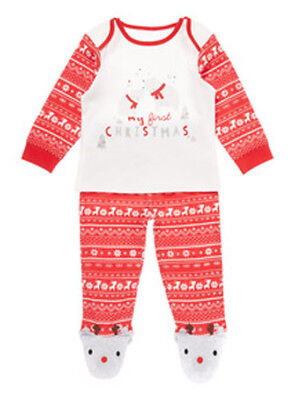 Tu Baby's Unisex Red & White My First Christmas Top & Trousers Age 0-3 Mths BNWT