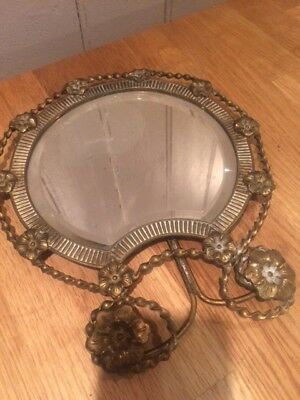 Vintage/antique dressing table small brass bevel edge mirror unusual shape