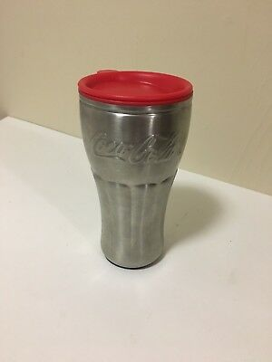 Coca Cola Coke Metal Traveler Cup Silver - Red Lid