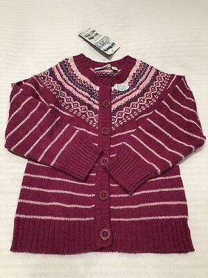BNWT Jojo Maman Bebe 3-4 Years Fair Isle Raspberry Cardigan