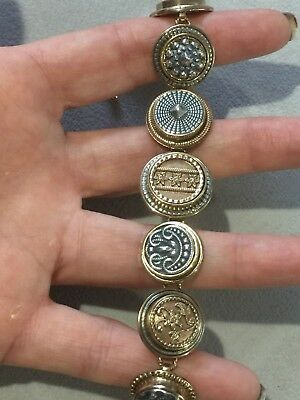 Designer Amy Russell Antique Style Two Tone Coin Graduated Bronze Bracelet 7-8""