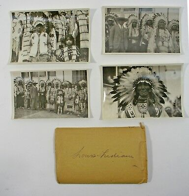 SET of 4 ORIGINAL PHOTOGRAPHS/POSTCARDS of NATIVE AMERICAN SIOUX INDIANS 1920's