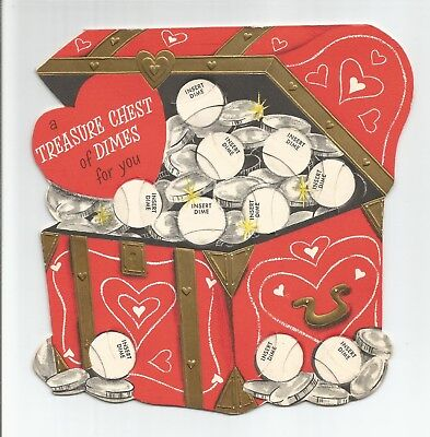 Vintage 1950's VALENTINE'S DAY Card Treasure Chest Dimes Coins Die cut Used