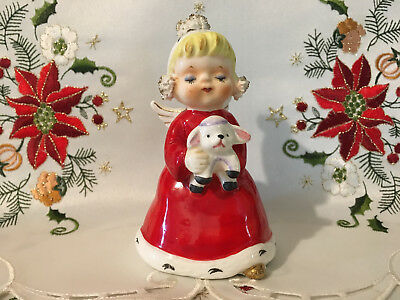 Vintage Napco Christmas Ceramic Angel Bell Figurine-Adorable!