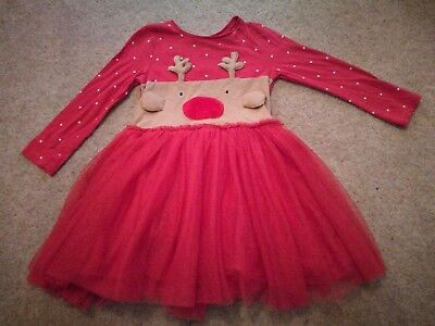 Next ~~~~~~Red Reindeer Face Christmas Tutu Dress~~~~~~ 3-4 years