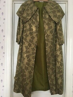 Vintage 1950's Green & Gold Duster Coat Size L