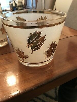 G. Reeves Vintage Mid-Century Glass Set With Ice Bucket