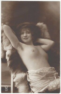1920 French NUDE Photograph - Brunette Rests on a Fur, Close up