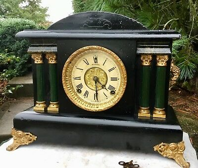 Sessions 8 Day Mantel Clock Runs and Strikes Well with half hour bell strike