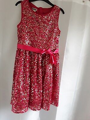 Girls monsoon red sequin party occasion dress age 8 worn once