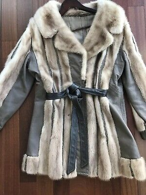 Vintage Blonde Fur Coat With Leather Trim And Belt (Size S)