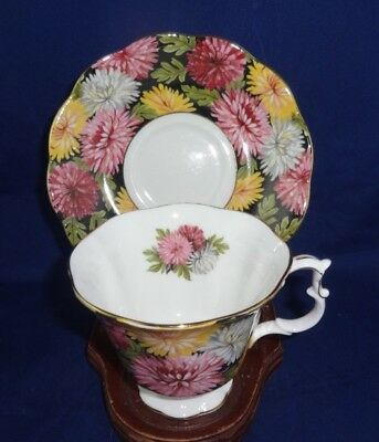 "Royal Albert ""Christine"" Black Chintz Tea Cup / Saucer Fine Bone China England"