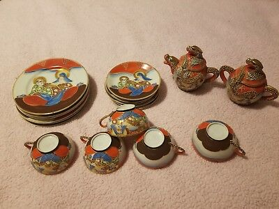 Vintage Satsuma Moriage Enameled Dragon Ware Lithopane Geisha Tea Set 19 pc EUC