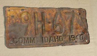 Vintage 1940 Comm Idaho License Plate Rusty Bent Bullet Holes Beat Up 9H-67