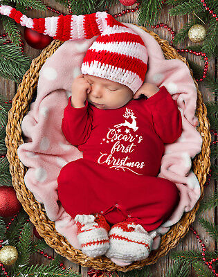 Customised baby's 1st Christmas red long sleeve rompasuit. Christmas baby grow