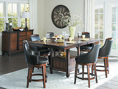 Cottage Brown 7pcs Dining Room Rectangular Counter Height Table Chairs Set IC62