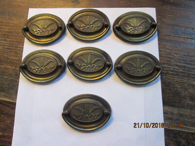 Antique Vintage Brass Oval Furniture Drawer Cabinet Pulls 7 Piece Lot FREE SHIPP