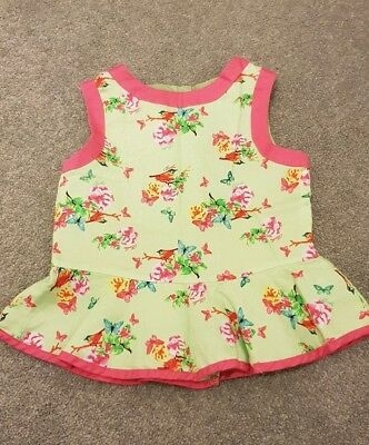 Ted Baker Baby Girl Pretty Green and Pink Bird Top 18-24 Months