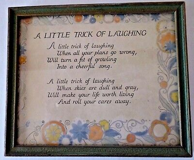 Vintage 1920's A LITTLE TRICK OF LAUGHING Motto Print in ornate frame