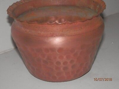 Vintage copper flower pot.  Gregorian. Looks rustic and homey. 4 inches tall.