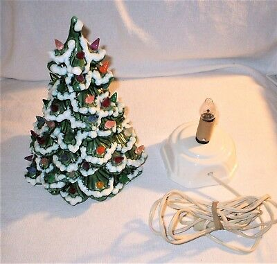 """Vintage Ceramic Llighted Frosted CHRISTMAS TREE 12"""" Colorful"""