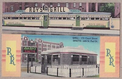 Roys Grill & Rob Roys Dinette.  Rochester, NY. Super Linen Postcard