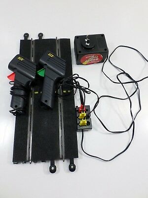 SCX SLOT CAR TERMINAL TRACK + POWER UNIT + SPEED CONTROL TRIGGERS x 2
